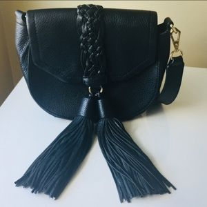 REBECCA MINKOFF BLACK TASSEL SADDLE CROSSBODY BAG